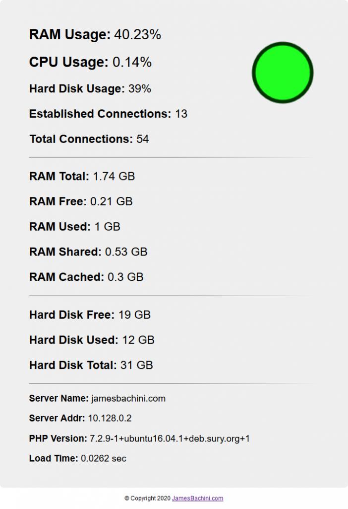 RAM & CPU usage PHP script 1