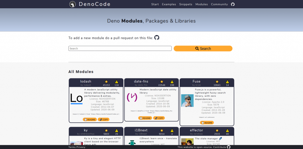 Deno Modules Directory at https://denocode.com/?page=modules