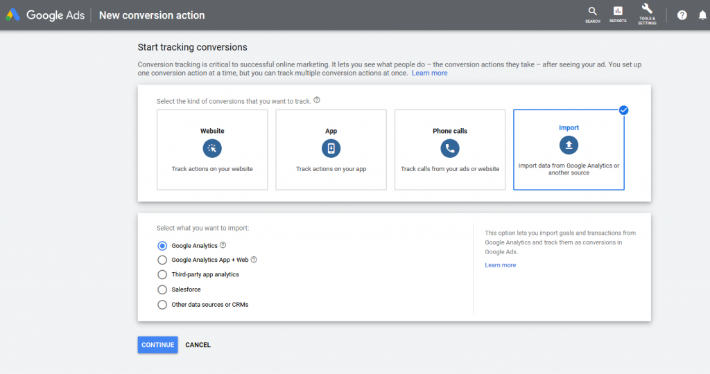 Get Google Analytics event and goal data into Google Ads