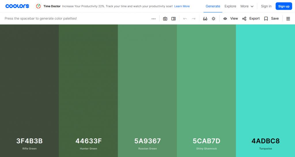 Choosing a colour scheme with Coolors