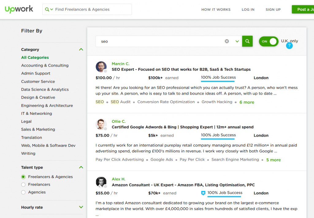 Marketing help for small businesses on Upwork
