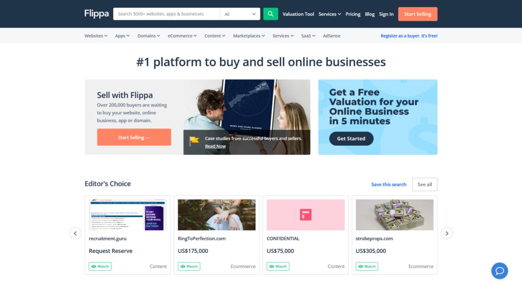 monetize your website by selling it on flippa