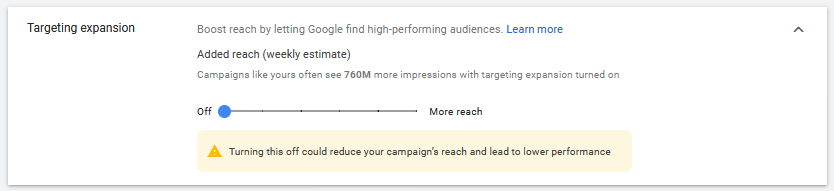 Targeting expansion in Google Ads