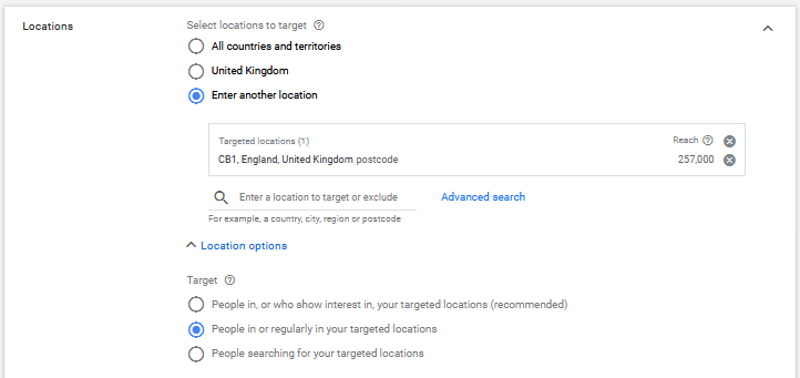 Setting location targeting with Postcode (Zipcode) and Location Options