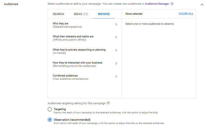 Audience Options When Creating Google Ads