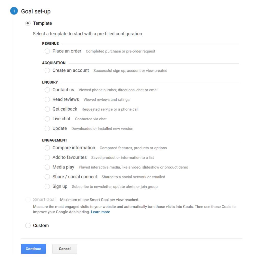 Setting up Goals in Google Analytics