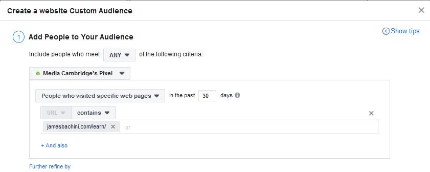 Retargeting Example Specific URL's