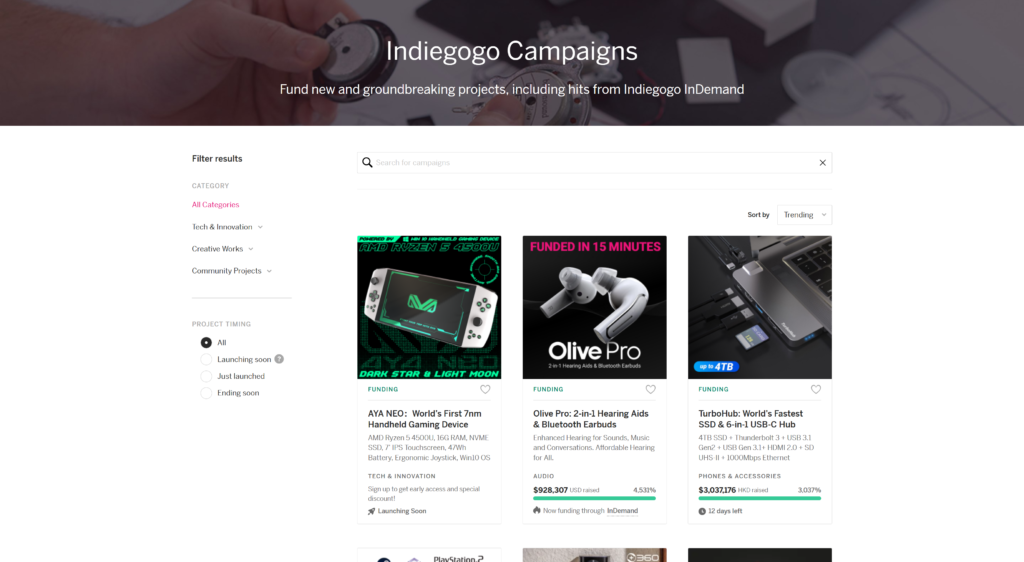 Startup funding with Indiegogo