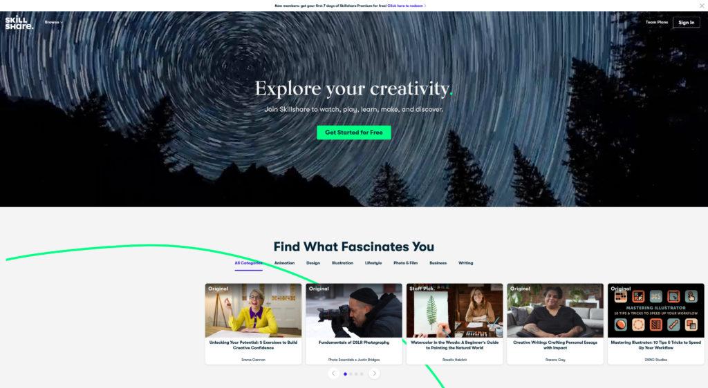 Explore online business ideas at skillshare