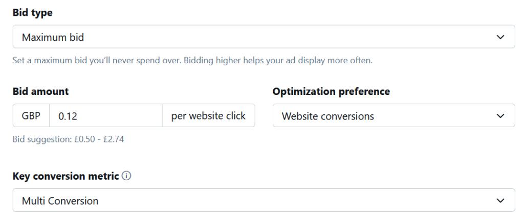 Maximum bids and conversion optimisation on Twitter Ads