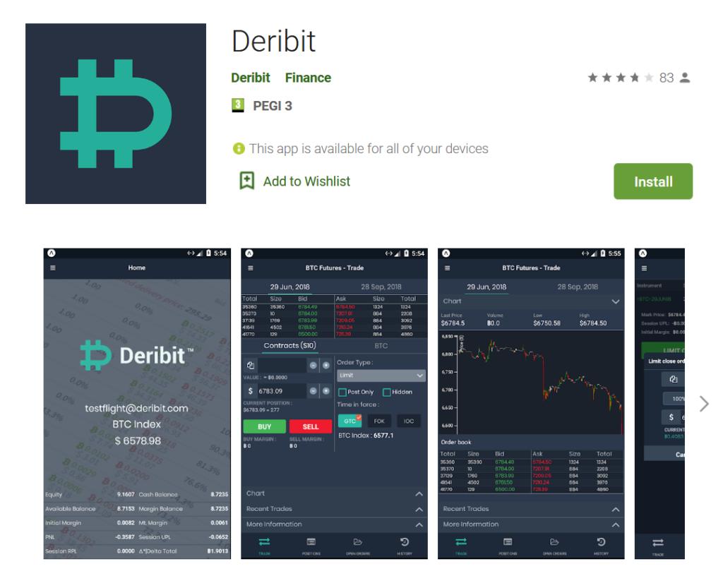 Deribit mobile apps review