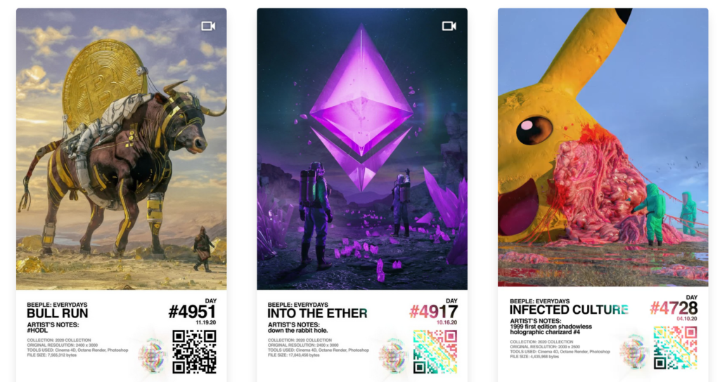 Beeple NFT's Non Fungible Tokens