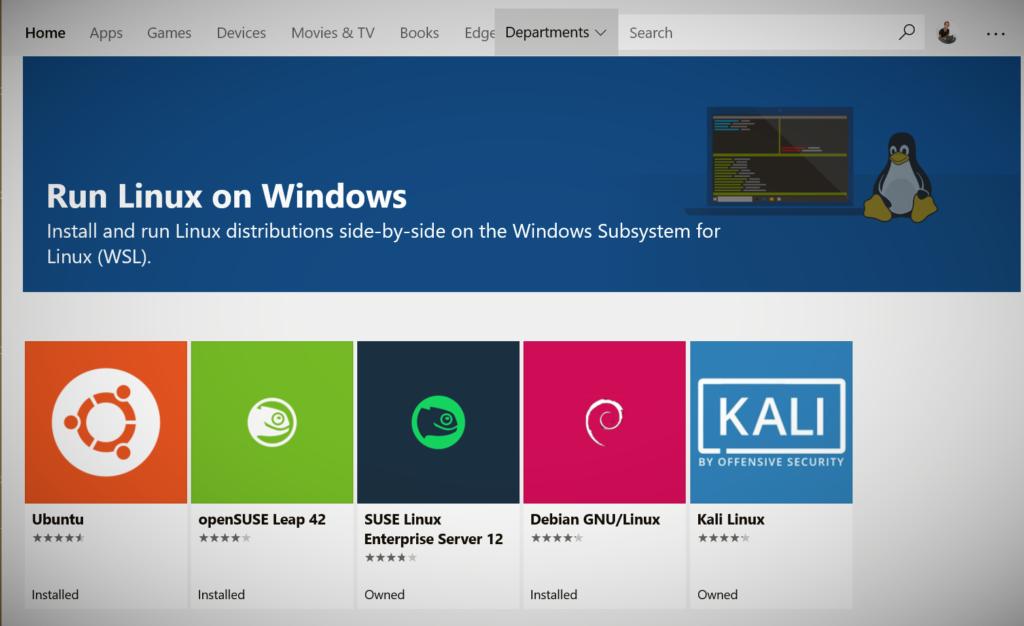 WSL windows subsytem for linux