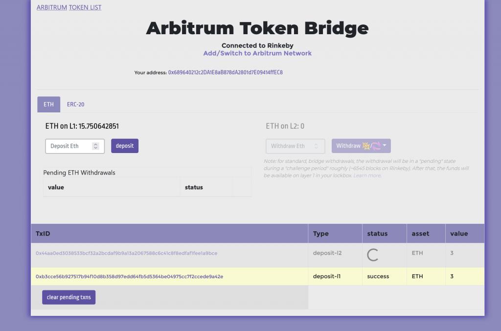 Arbitrum Tutorial Bridge